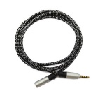 Male to Female Thick Weaving Audio Cable - Black + Silver (1.2m)