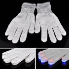 7-Mode Light Up Finger Lighting White LED Rave Glow Flashing Gloves - White