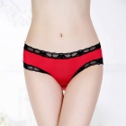 Women's Sexy Lace Bowknot Panties Underwear - Red + Black