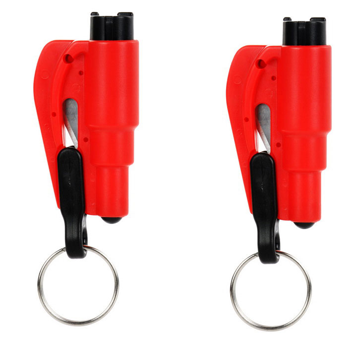 Emergency Car Safety Hammers w/ Belt Cutter, Keyring - Red (2PCS)