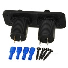 2-Port USB Car Charger + Cigarette Lighter for Motorcycle, Car - Black