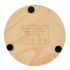 Round Wooden Qi Wireless Charger + Micro Receiver - Wood Color