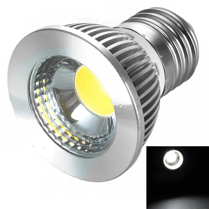 E27 5W COB LED Bulb Lamp Cold White Light 400lm - Silver (100~240V)
