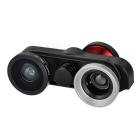 4-in-1 Front & Rear Fish Eye + Wide Angle + Macro Camera Lens Kit for IPHONE 6 - Black + Red