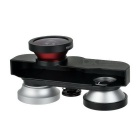 Front & Rear Fish Eye + Wide Angle + Macro Camera Lens Kit - Black+Red