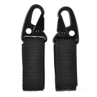 Outdoor Tactical Molle Webbing Belt Hanging Hook Buckle Carabiner w/ Key Ring - Black (2pcs)