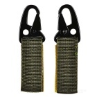 Outdoor Tactical Molle Webbing Belt Hanging Hook Buckle Carabiner w/ Key Ring - Army Green (2pcs)
