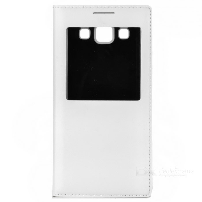PU Full Body Case w/ View Window & Auto-Sleep for Samsung A5 - White