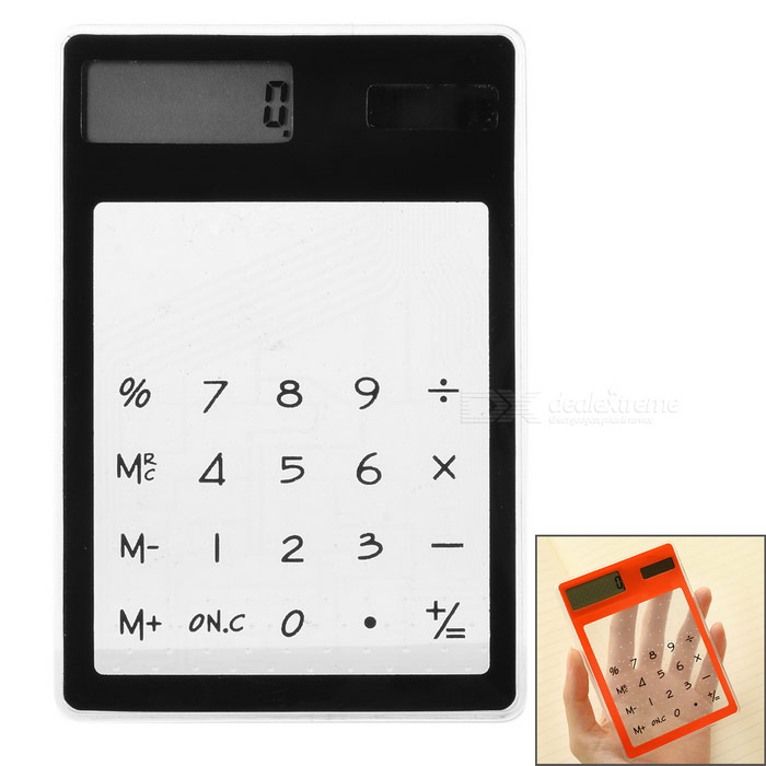 "draagbare 1.5"" touch op zonne-energie calculator - zwart + transparant"