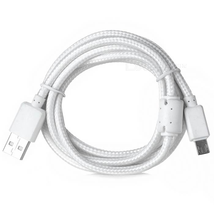 Braided Micro USB to USB 2.0 Charging Cable w/ Magnetic Ring - White