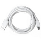 Braided Micro USB to USB 2.0 Data Sync & Charging Cable w/ Magnetic Ring for Android Phones - White