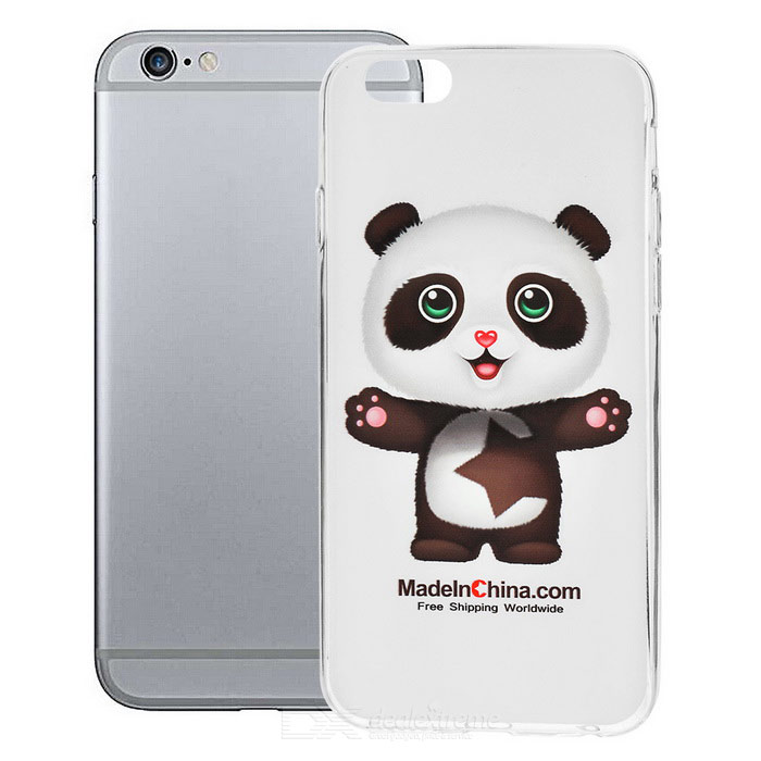 Panda Pattern TPU Back Case for IPHONE 6 - White + Transparent