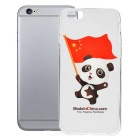 Panda Holding Chinese Flag Pattern Protective TPU Back Case for IPHONE 6 - White + Transparent