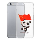 Panda Holding Chinese Flag Pattern Protective TPU Back Case for IPHONE 6 PLUS - Red + Transparent