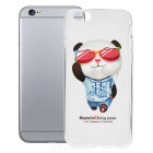 Cool Panda Pattern Protective TPU Back Case for IPHONE 6 - White + Transparent