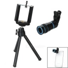 8X Telescope + Retractable Tripod Set for Cellphone - Black + Blue