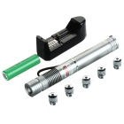 5mW Green Laser Pen w/ Adapters + US Plugs Power Adapter - Silvery Grey