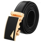 Men's Split Leather Belt w/ Triangle Pattern Buckle - Golden + Black