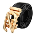 Cow Split Leather Belt w/ Z Pattern Automatic Buckle for Men - Gold + Black