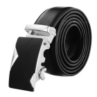 Men's Split Leather Belt w/ Triangle Pattern - Silvery White + Black