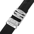 Men's Split Leather Belt w/ Car Pattern Buckle - Silvery White + Black