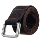 Fashionable Canvas Waist Belt w/ Dual-Ring Buckle - Brown