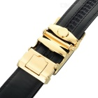 Men's Leather Belt w/ Cross Curve Pattern Buckle - Golden + Black