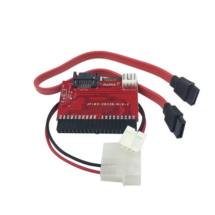 IDE to SATA Adapter Card - Red + BlackOther Parts<br>Form ColorRed + BlackQuantity1 DX.PCM.Model.AttributeModel.UnitMaterialABSSupports SystemWin xp,Win 2000,Win 2008,Win vista,Win7 32,Win7 64,Win8 32,Win8 64Other Features- Material: Glass fiber; <br>- Plugging directly into your Hard Drivers IDE port; <br>- The other side plug to motherboards SATA socket; <br>- Support the Serial ATA transfer rate of 1.5Gb/s (150MB/s);<br>- Compliant with serial ATA 1.0 specification; <br>- Compatible with ultra ATA 100 / 133; <br>- Data transfer rate up to 1.5 Gbps (150 MB/s); <br>- Support IDE drive size larger than 200GB; <br>- No driver is needed.Packing List1 x IDE to SATA adapter card 1 x Power cord (21+/-2cm)1 x SATA cable (28+/-2cm)<br>