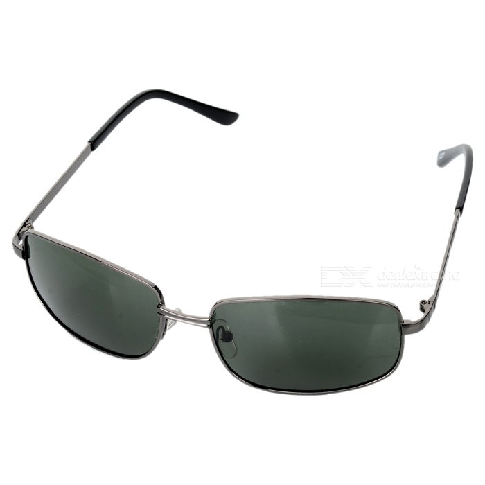 Trendy Metal Frame Resin Lens UV400 Protection Sunglasses - Deep Green