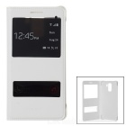 Protective Flip-Open PU Case Cover w/ Smart Wake-up & View Windows for Huawei Honor 7 - White
