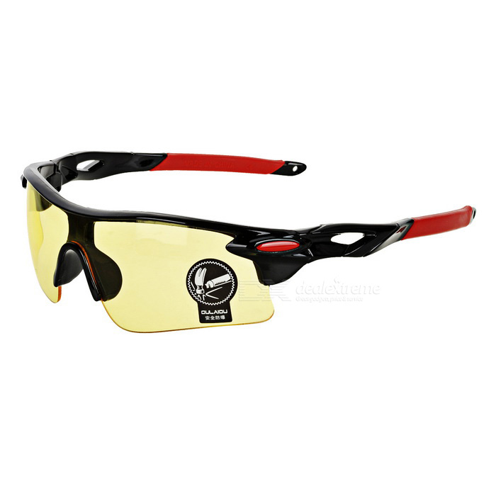 OULAIOU UV400 Plastic Frame PC Lens Sunglasses - Black + Red + Yellow