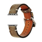 Retro Italian Leather Watchband w/ Attachments for 42mm Apple Watch - Yellowish Brown