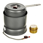 Bulin Outdoor Camping Wind-proof 3KW Alcohol Stove Burner w/ Pot - Black Grey + Silver