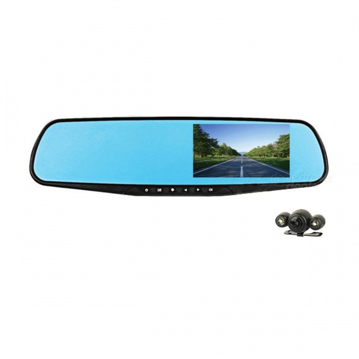 4.3 Car Rearview Mirror DVR w/ Night Vision, 2 Cameras - Black + BlueCar DVRs<br>Form  ColorBlack + BlueAnti-ShakeYesMotion DetectionYesIR Night VisionYesLoop RecordOthersDelay ShutdownYesModelA20Quantity1 pieceMaterialABS plasticChipsetOthers,N/AScreen Size4-4.9Other FeaturesOthers,N/AScreen Resolution:640 x 480 dpiCamera Pixel5-7.9MP pixelsWide Angle170°-189°Camera Lens2Image SensorCMOSImage Sensor Size1/2.7 inchesCamera Pixel5.0MPExternal Camera Pixel1.3MPWide AngleOthers,170Optical ZoomNoScreen TypeCapacitive screenScreen SizeOthers,4.3ISONoExposure CompensationOthers,3, 2, 1, 0, -1, -2, -3White Balance ModeAutoScene ModeAutoVideo FormatAVIDecode FormatH.264Video OutputPAL,NTSCVideo ResolutionOthers,1080P?1920 X 1080?Video Frame Rate30ImagesJPEG,JPGStill Image ResolutionOthers,1M 1280 x 1024Audio SystemStereoMicrophoneYesAuto-Power OnYesLED QtyOthers,2G-sensorYesTime StampYes (ON Or OFF)Built-in Memory / RAMNoMax. Capacity32GBStorage ExpansionTFAV InterfaceAV-outData interfaceMini USBWorking Voltage   5 VBattery Capacity450 mAhWorking Time30 minutesMenu LanguageOthers,N/AOther FeaturesWide angle: front camera: 170, rear camera: 140Packing List1 x Car DVR1 x Connecting wire (560cm / 120cm)1 x Camera (45cm-wire)2 x Fixing bands1 x 12~36V car charger (335cm-cable)2 x Screws1 x Chinese &amp; English user manual<br>