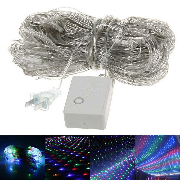 6W 200-LED Party Decoration Net Light värivalot-White (US Tulpat)