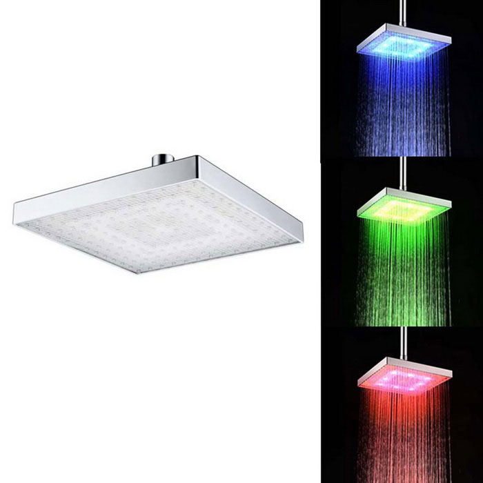 8 A Grade ABS Chrome Finish Square RGB LED Shower Head - SilverShower Heads<br>Form ColorSilverMaterialA Grade ABSQuantity1 DX.PCM.Model.AttributeModel.UnitShower HeadRainfallFinishChromeNumber of handlesSingleShowerhead Dimension20cmInstallation Hole1StyleContemporaryOther FeaturesStandard 1/2 Threads.Packing List1 x Shower Head<br>