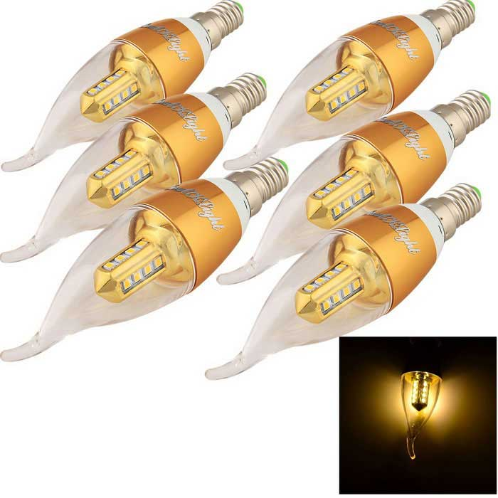 YouOKLight E14 3W LED Candle Bulb Warm White Light 3000K 16-SMD (6PCS)