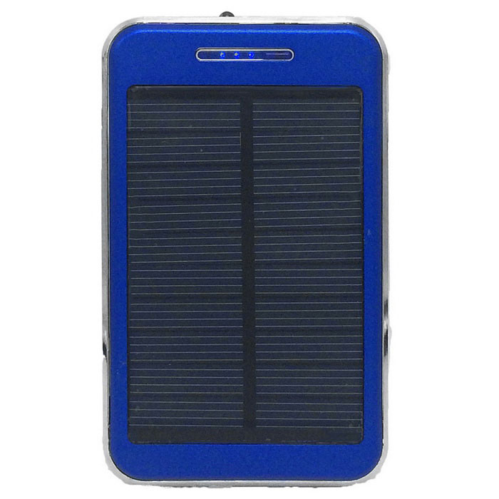 """48000mAh"" Li-polymer Battery Solar Power Bank w/ Flashlight - Blue"