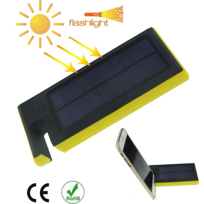 Universal 6000mAh Solar Power Mobile Power Bank for Samsung£¬ Xiaomi£¬ IPHONE + More - Black + Yellow