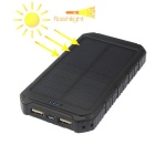 Multifunction Dual USB 5000mAh Solar Powered Mobile Power Bank - Black