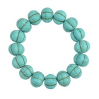 14mm Pumpkin Style Stone Beads Bracelet - Turquoise