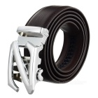 Split Leather Belt w/ Z-Pattern Automatic Buckle - Silver + Brown