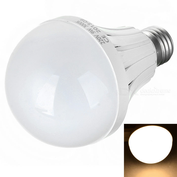 E27 9W LED Bulb Lamp Warm White Light 3000K 32-SMD - White (AC 220V)