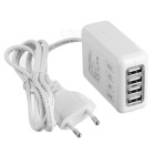 5V 2.5A 4-USB Power Adapter Charger for IPHONE 6, Tablet PC, Samsung, Xiaomi, HTC - White (EU Plug)