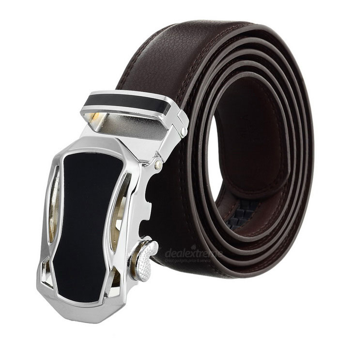 Men's Split Leather Belt w/ Car Pattern Buckle - Silver + Coffee