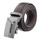 Men's Elegant Split Leather Belt w/ Y-Pattern Automatic Buckle - Brown