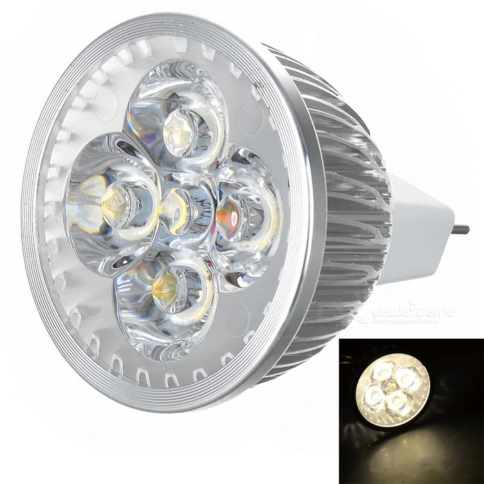 MR16 4W LED-lamp warm wit 3000K 280lm - zilver + wit (12V)