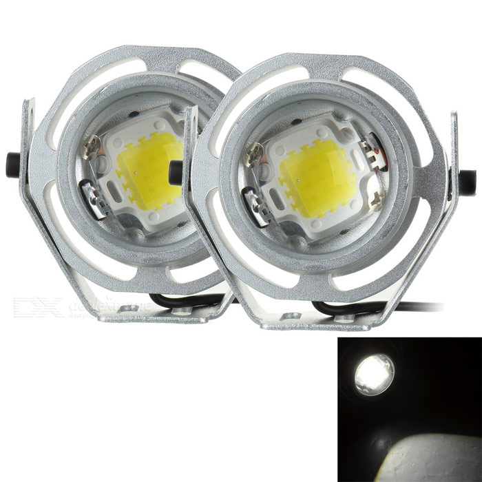 Waterproof 10W 500lm 6000K White Light 9-LED Car Headlamp (2PCS)