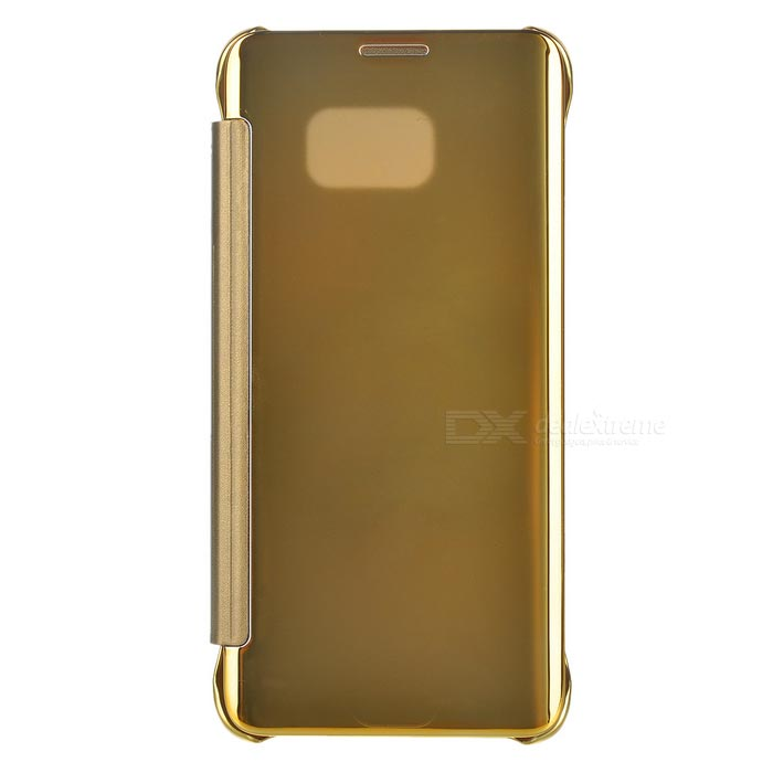 Protective Mirror PU Case for Samsung Galaxy S6 Edge Plus - Golden