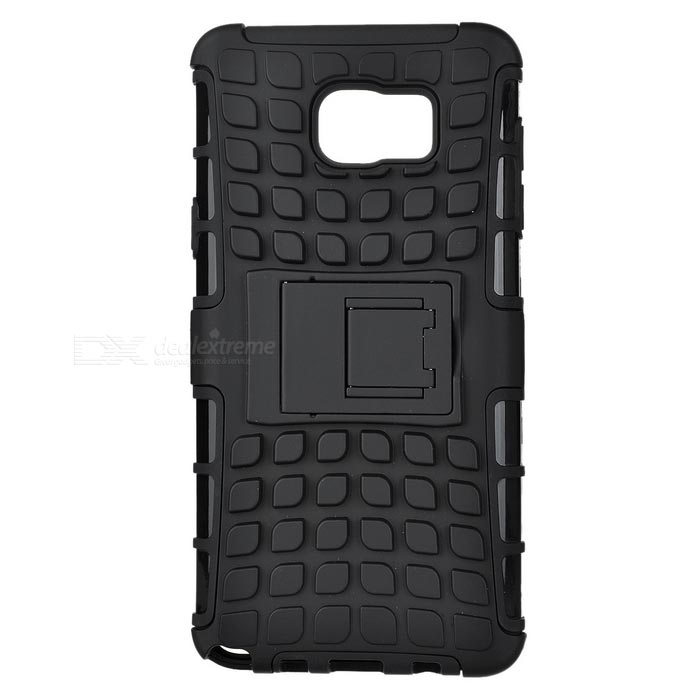 Shockproof TPU + PC Back Case w/ Stand for Samsung Note 5 - Black